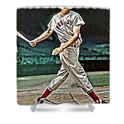 Ted Williams Painting Shower Curtain by Florian Rodarte