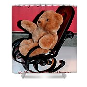 Teddy's Chair - Toy - Children Shower Curtain by Barbara Griffin