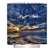 Tel Aviv Sunset At Hilton Beach Shower Curtain by Ron Shoshani