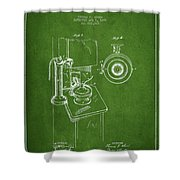 Telephone Patent Drawing From 1898 - Green Shower Curtain by Aged Pixel