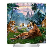 Temple Lake Tigers Shower Curtain by Jan Patrik Krasny