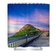 Temple Sunset Shower Curtain by Adrian Evans