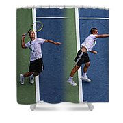 Tennis Serve by Mikhail Youzhny Shower Curtain by Nishanth Gopinathan
