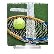 Tennis - Wooden Tennis Racquet Shower Curtain by Paul Ward
