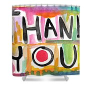 Thank You Card- Watercolor Greeting Card Shower Curtain by Linda Woods