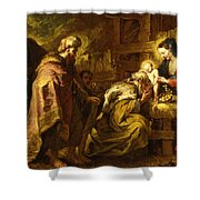 The Adoration Of The Magi Shower Curtain by Orazio de Ferrari