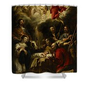 The Adoration of the Shepherds Shower Curtain by Jan Cossiers