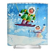 The Aerial Skier - 10 Shower Curtain by Hanne Lore Koehler