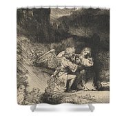 The Agony In The Garden Shower Curtain by Rembrandt