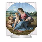 The Alba Madonna Shower Curtain by Raffaello Sanzio of Urbino