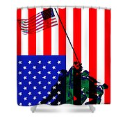 The American Flag Over Iwo Jima 20130210 Shower Curtain by Wingsdomain Art and Photography