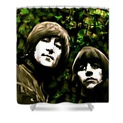 The Art Of Sound  The Beatles Shower Curtain by Iconic Images Art Gallery David Pucciarelli