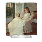 The Artist's Sister At A Window Shower Curtain by Berthe Morisot