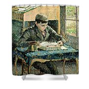 The Artists Son Shower Curtain by Camille Pissarro