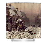 The Attack At Dawn Shower Curtain by Alphonse Marie De Neuville