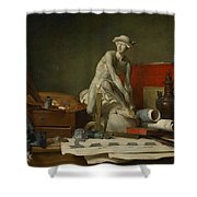 The Attributes Of The Arts And The Rewards Which Are Accorded Them Shower Curtain by Jean Baptiste Simeon Chardin