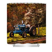 The Autumn Blues Shower Curtain by Debra and Dave Vanderlaan