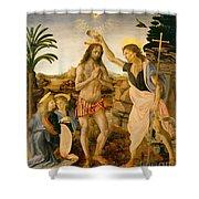 The Baptism of Christ by John the Baptist Shower Curtain by Leonardo da Vinci