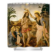 The Baptism Of Christ By John The Baptist Shower Curtain by Leonardo da Vinci