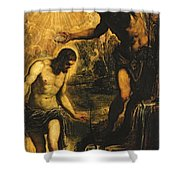 The Baptism of Christ Shower Curtain by Jacopo Robusti Tintoretto