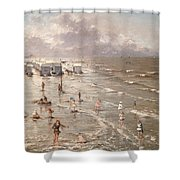 The Beach At Ostend Shower Curtain by Adolphe Jacobs