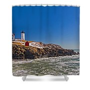 The Beauty Of Nubble Shower Curtain by Joann Vitali