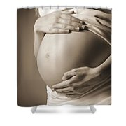 The Belly Of A Pregnant Woman Shower Curtain by Leah Hammond