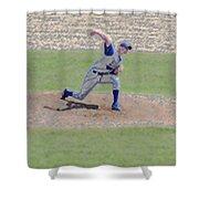 The Big Baseball Pitch Digital Art Shower Curtain by Thomas Woolworth