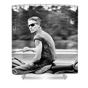 the biker Shower Curtain by Laura  Fasulo