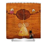 The Birds Love My Hair Shower Curtain by Lucia Stewart