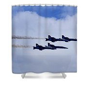 The Blue Angels Shower Curtain by Benjamin Reed