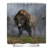 The Buffalo Vanguard Shower Curtain by Daniel Eskridge