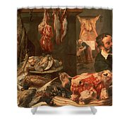 The Butcher's Shop Shower Curtain by Frans Snyders