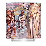 The Call Of Andrew And Peter Shower Curtain by Harold Copping