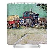 The Caravans   Gypsy Encampment near Arles Shower Curtain by Vincent Van Gogh