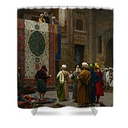 The Carpet Merchant Shower Curtain by Jean Leon Gerome