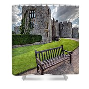 The Castle Bench Shower Curtain by Adrian Evans