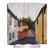 The Castle Keep Shower Curtain by Shirley Miller