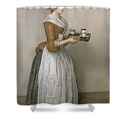 The Chocolate Girl Shower Curtain by Jean-Etienne Liotard