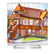 The Church On Shepherd Street 3 Shower Curtain by Kip DeVore