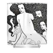 The Comedy Of The Rhinegold Shower Curtain by Aubrey Beardsley