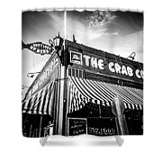 The Crab Cooker Newport Beach Black And White Photo Shower Curtain by Paul Velgos