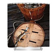 The Cranky Crab Shower Curtain by Skip Willits