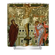 The Crucifixion Of Our Lord Shower Curtain by Novgorod School