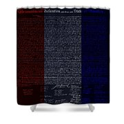 The Declaration Of Independence In Negative R W B Shower Curtain by Rob Hans