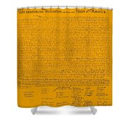 The Declaration Of Independence In Orange Shower Curtain by Rob Hans