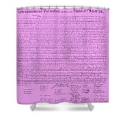 The Declaration Of Independence In Pink Shower Curtain by Rob Hans