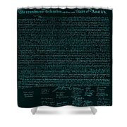 The Declaration Of Independence In Turquoise Shower Curtain by Rob Hans