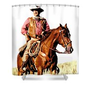 The Duke  John Wayne Shower Curtain by Iconic Images Art Gallery David Pucciarelli