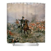 The Duke Of Wellington At Waterloo Shower Curtain by Robert Alexander Hillingford